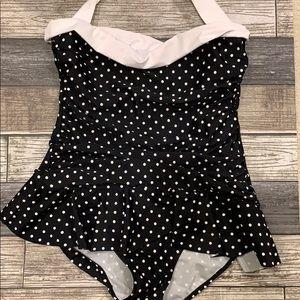 Ralph Lauren Black White Polka Dot Bathingsuit 10